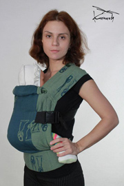 Karaush ergo baby carrier made of sling fabric with cotton lining or brown cloth