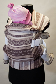 Karaush ergo baby carrier made of sling fabric of different colors and types of weaving